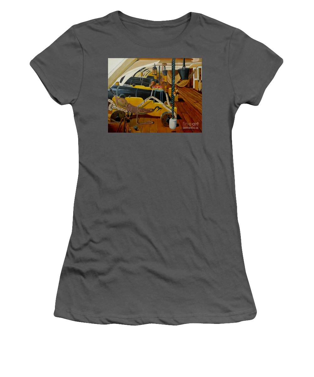 Hms Victory Women's T-Shirt (Athletic Fit) featuring the painting The Guns Of Hms Victory by Anthony Dunphy