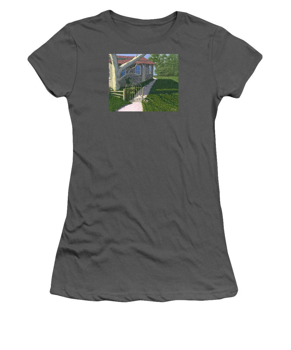 Old Farm Women's T-Shirt (Athletic Fit) featuring the painting The Iron Gate by Gary Giacomelli