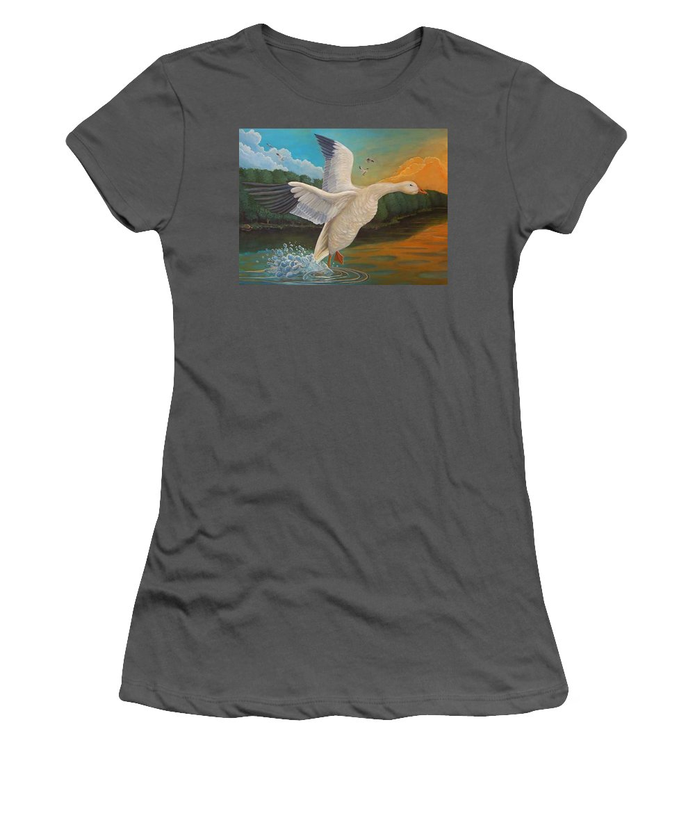 Rick Huotari Women's T-Shirt (Athletic Fit) featuring the painting The Landing by Rick Huotari