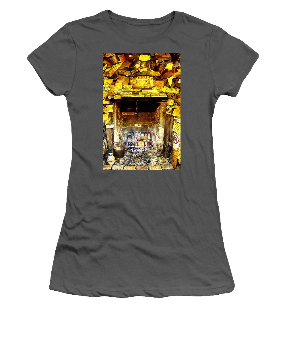 Hahndorf Women's T-Shirt (Athletic Fit) featuring the photograph The Leather Shop Fireplace by Douglas Barnard