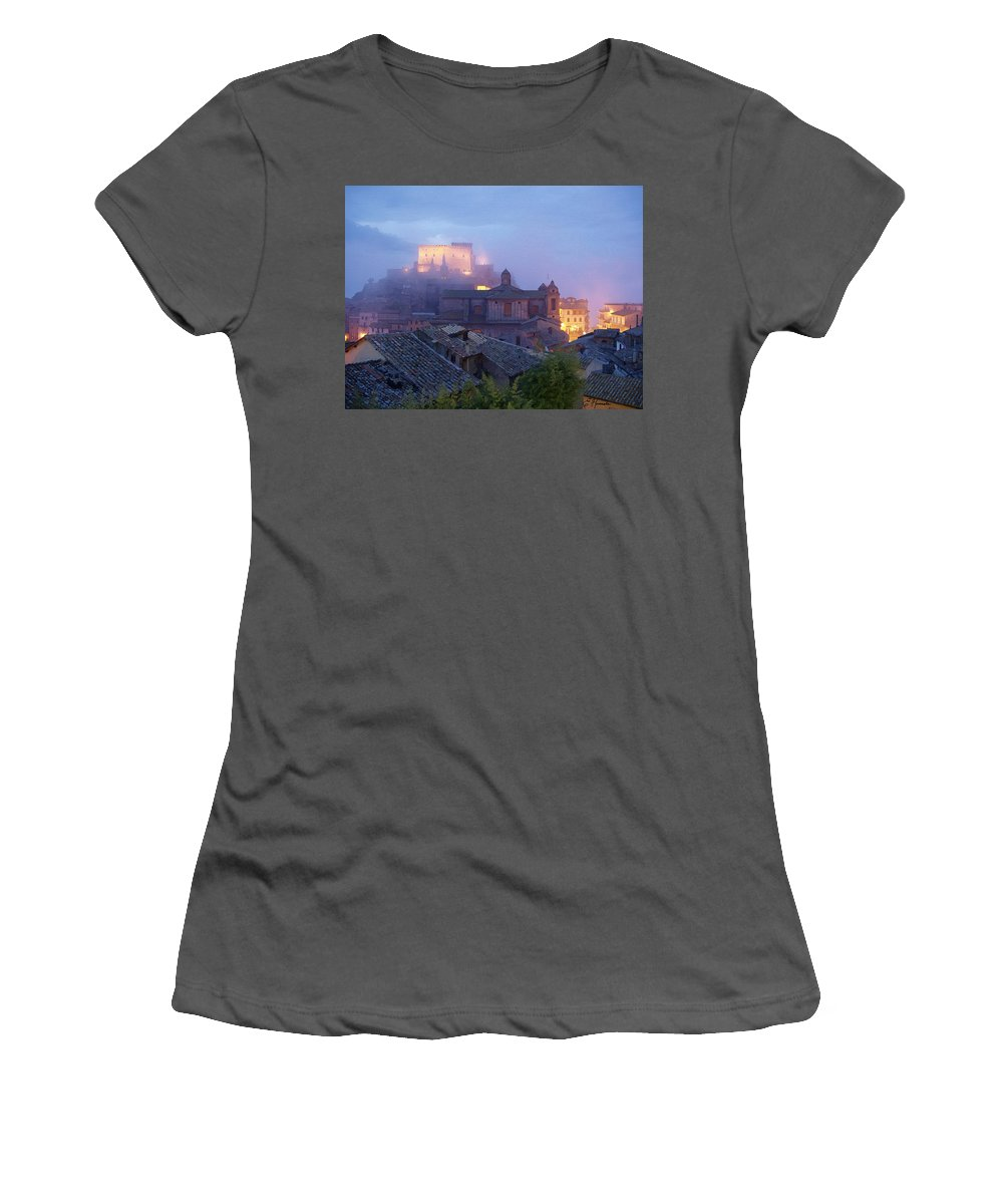 The Mists Of Soriano Women's T-Shirt (Athletic Fit) featuring the painting The Mists Of Soriano by Ellen Henneke