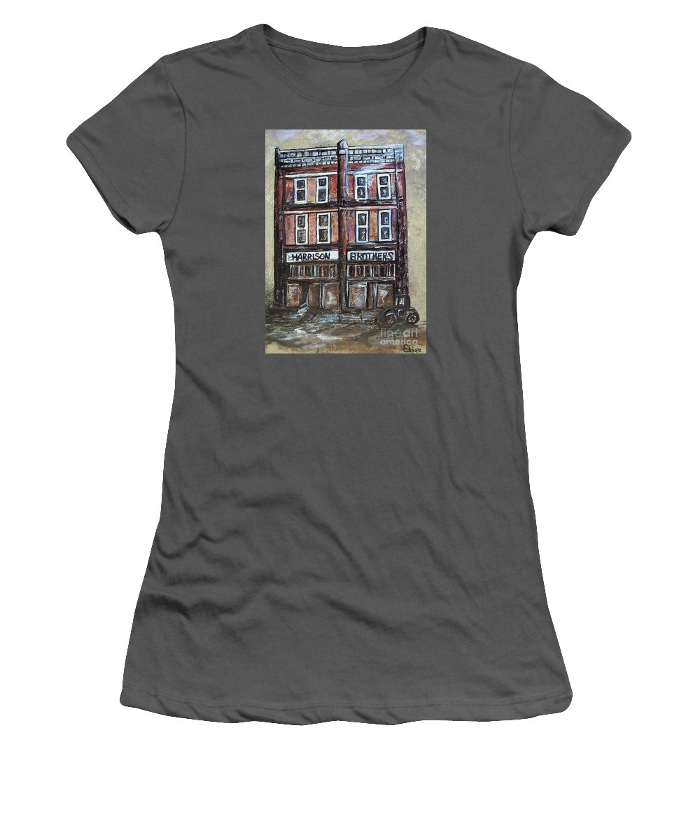 Historic Women's T-Shirt (Athletic Fit) featuring the painting The Old Store by Eloise Schneider Mote