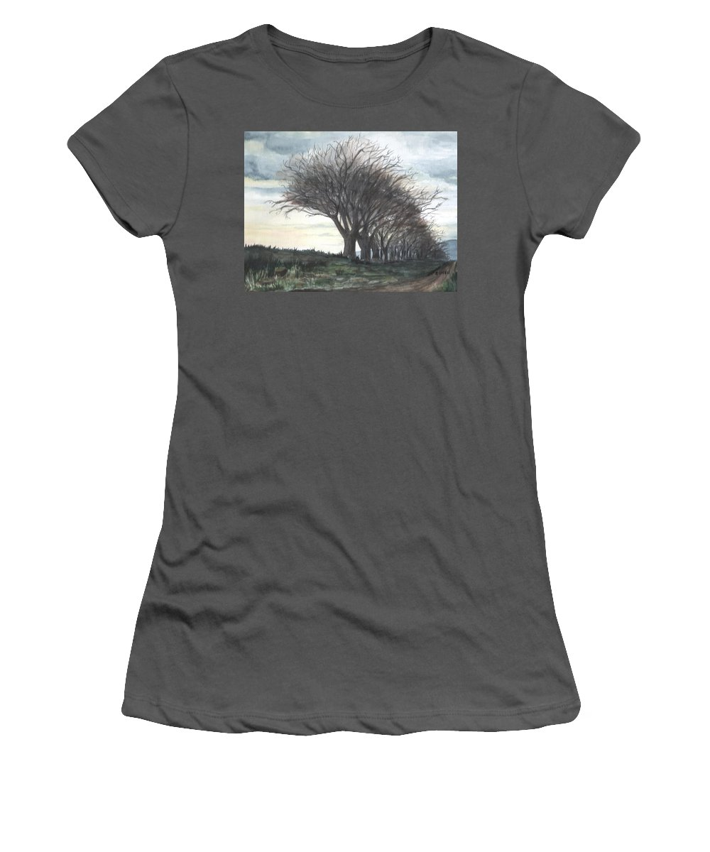Watercolor Women's T-Shirt (Athletic Fit) featuring the painting The Sentinels by Brenda Owen