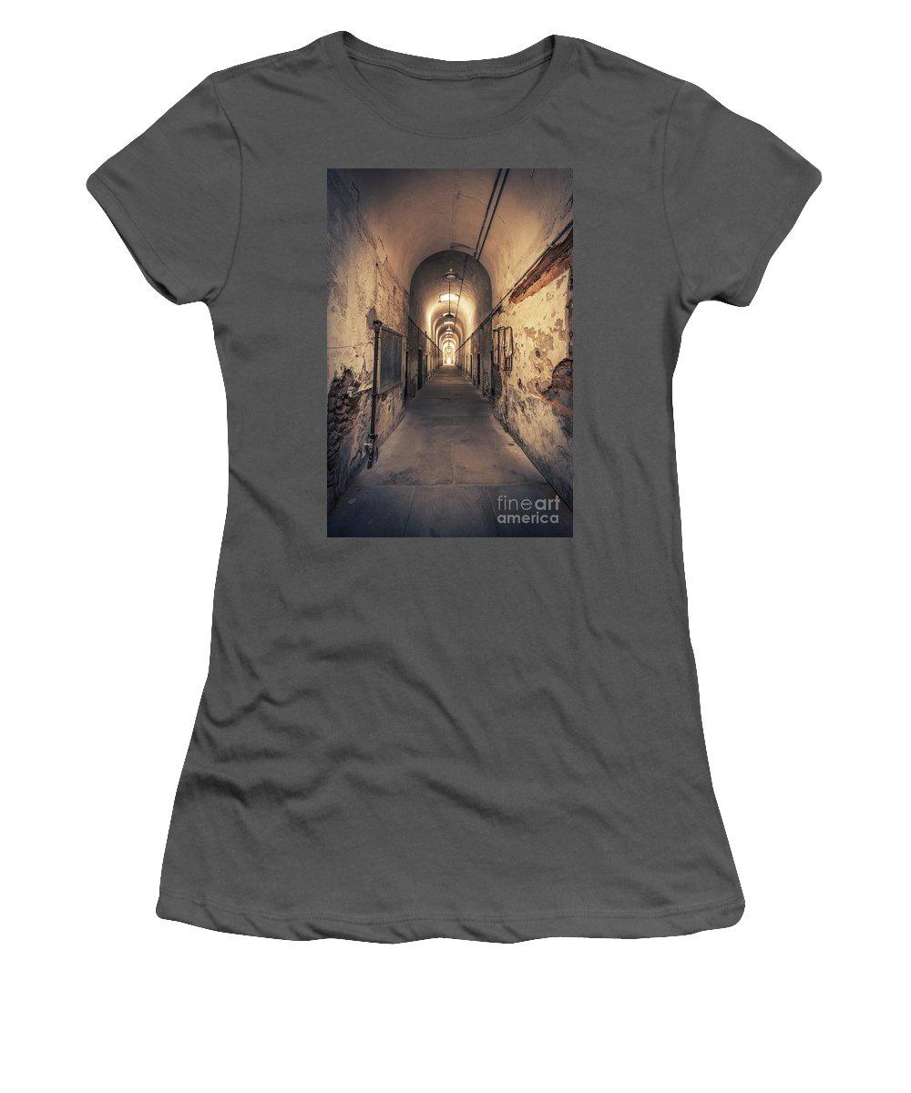 Eastern State Women's T-Shirt (Athletic Fit) featuring the photograph The Shadowpath by Evelina Kremsdorf