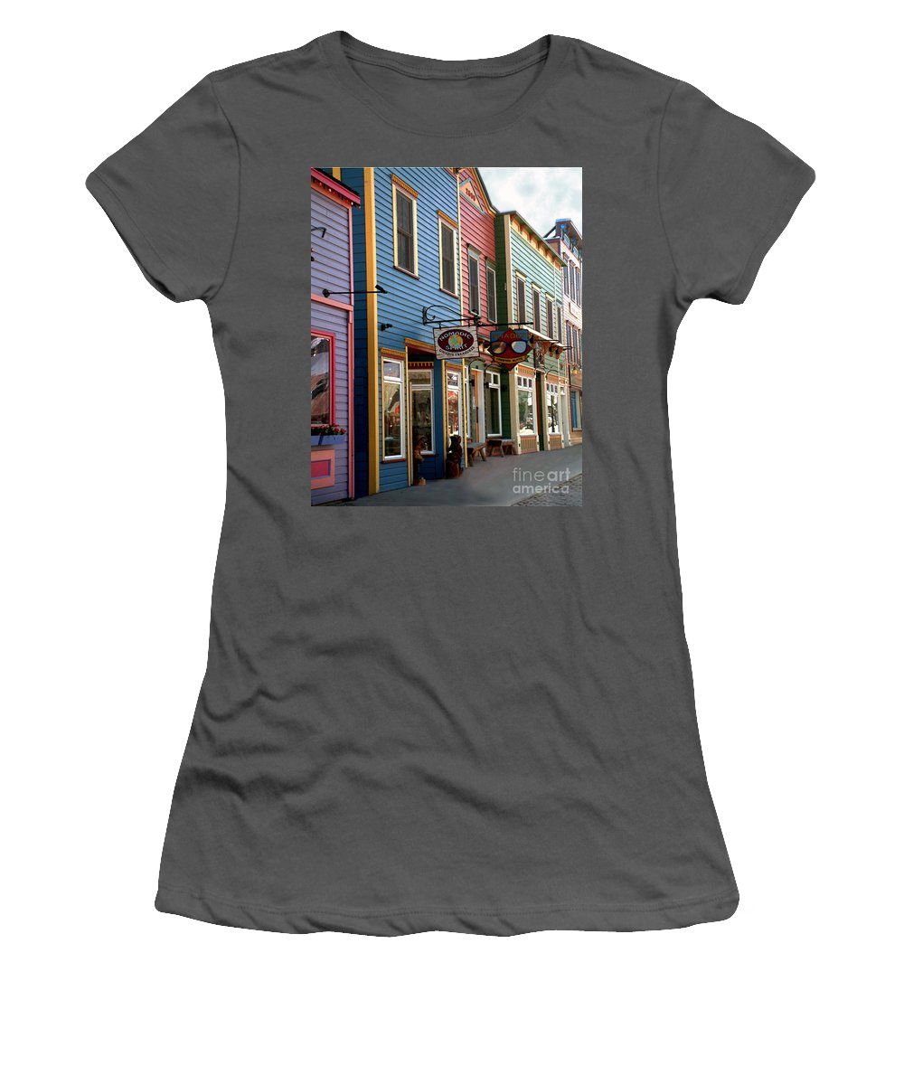 Landscape Women's T-Shirt (Athletic Fit) featuring the photograph The Shops In Crested Butte by RC DeWinter