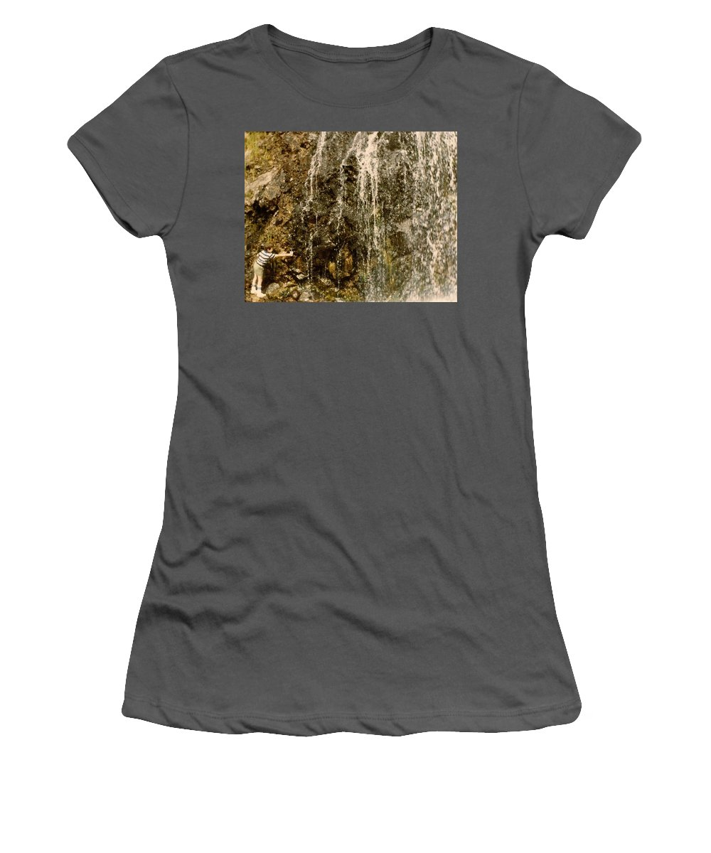 Waterfalls Women's T-Shirt (Athletic Fit) featuring the photograph Thirsty by Chris W Photography AKA Christian Wilson