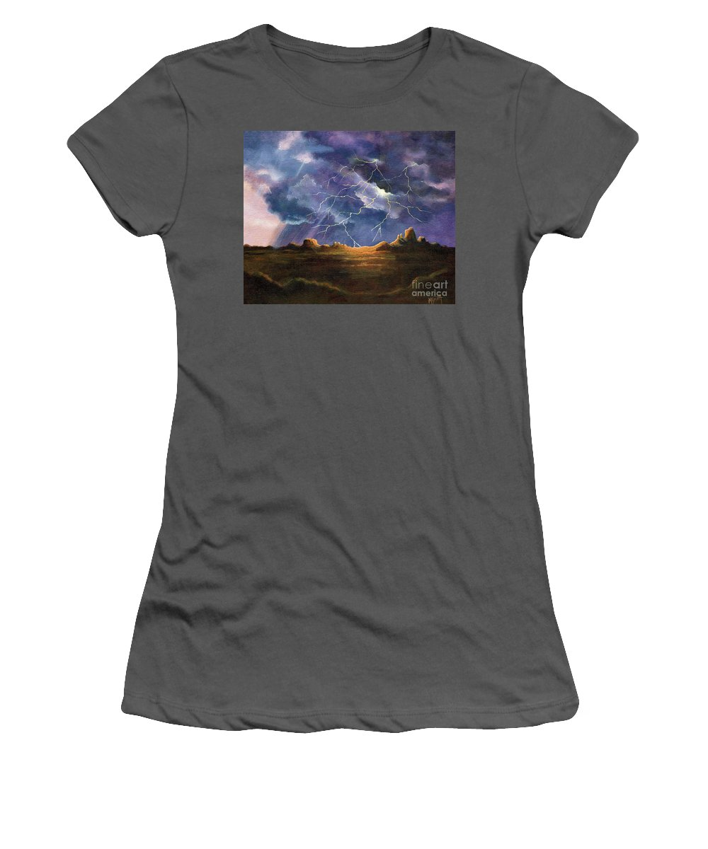 Thor's Fury Women's T-Shirt (Athletic Fit) featuring the painting Thor's Fury by Marilyn Smith