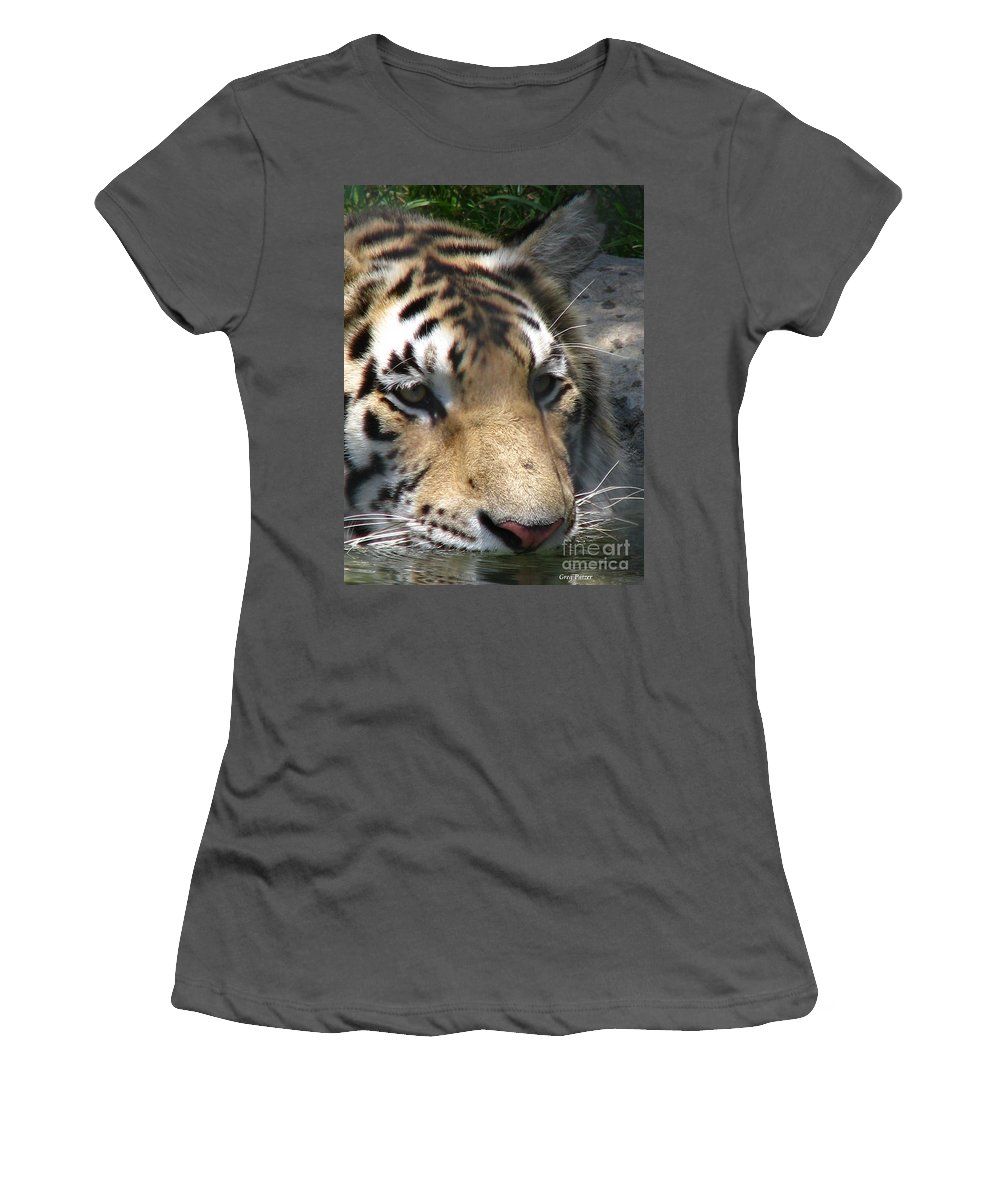 Patzer Women's T-Shirt (Athletic Fit) featuring the photograph Tiger Water by Greg Patzer