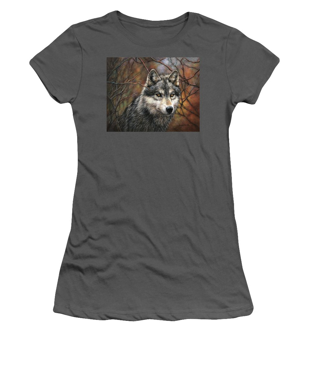 Wolf Women's T-Shirt (Athletic Fit) featuring the painting Timber Wolf by Donna Hillman Walsh