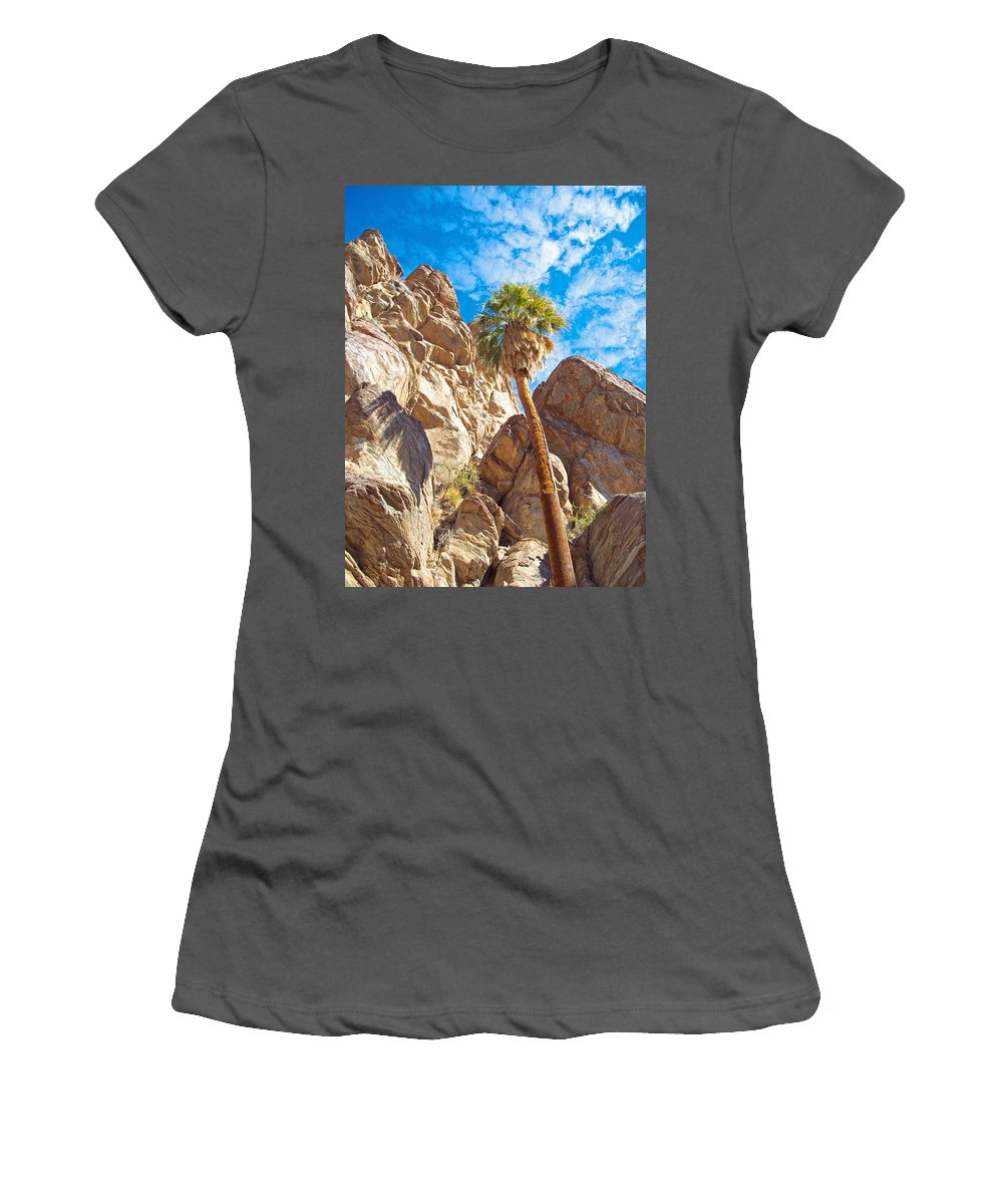 Top Of A Palm Near Top Of Andreas Canyon In Indian Canyons Women's T-Shirt (Athletic Fit) featuring the photograph Top Of A Palm Near Top Of Andreas Canyon-ca by Ruth Hager