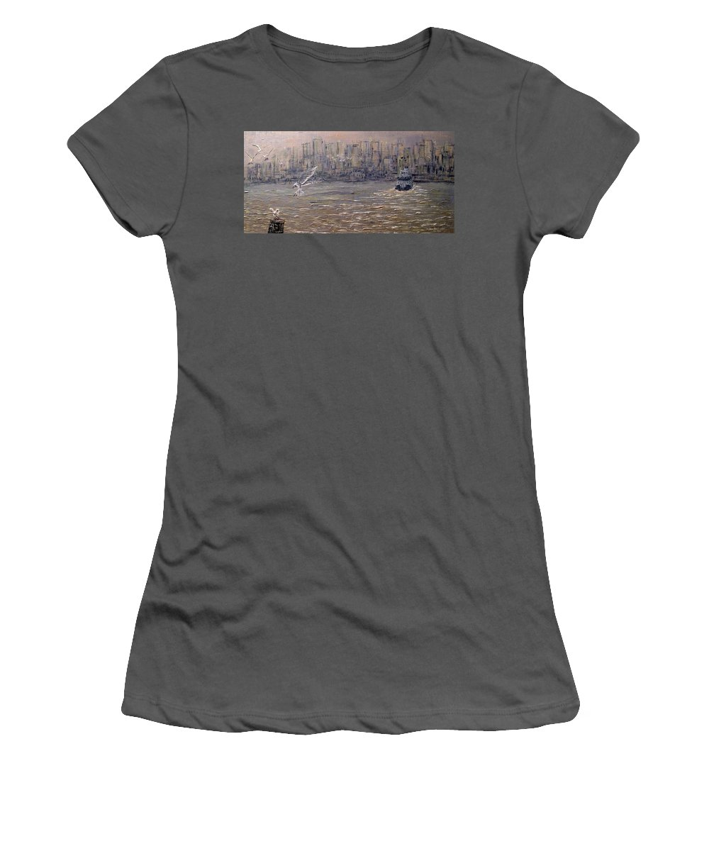 Toronto Women's T-Shirt (Athletic Fit) featuring the painting Toronto Harbor Morning by Ian MacDonald