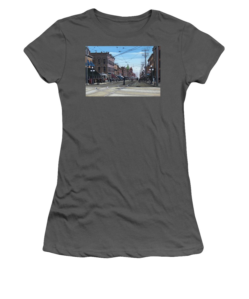 Streetscapes Women's T-Shirt (Athletic Fit) featuring the painting Toronto Yonge And College 1916 by Kenneth M Kirsch