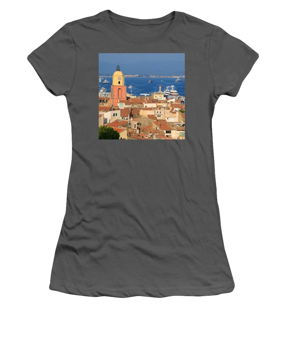 Bell Tower Women's T-Shirt (Athletic Fit) featuring the photograph Town Of St Tropez Cote D'azur France by Matteo Colombo