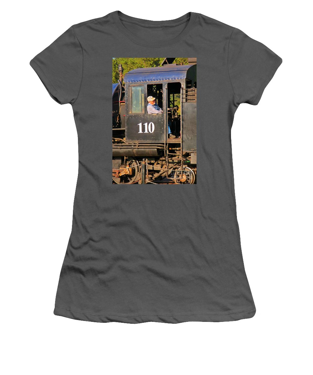 Train Art Women's T-Shirt (Athletic Fit) featuring the photograph Train Conductor by John Malone