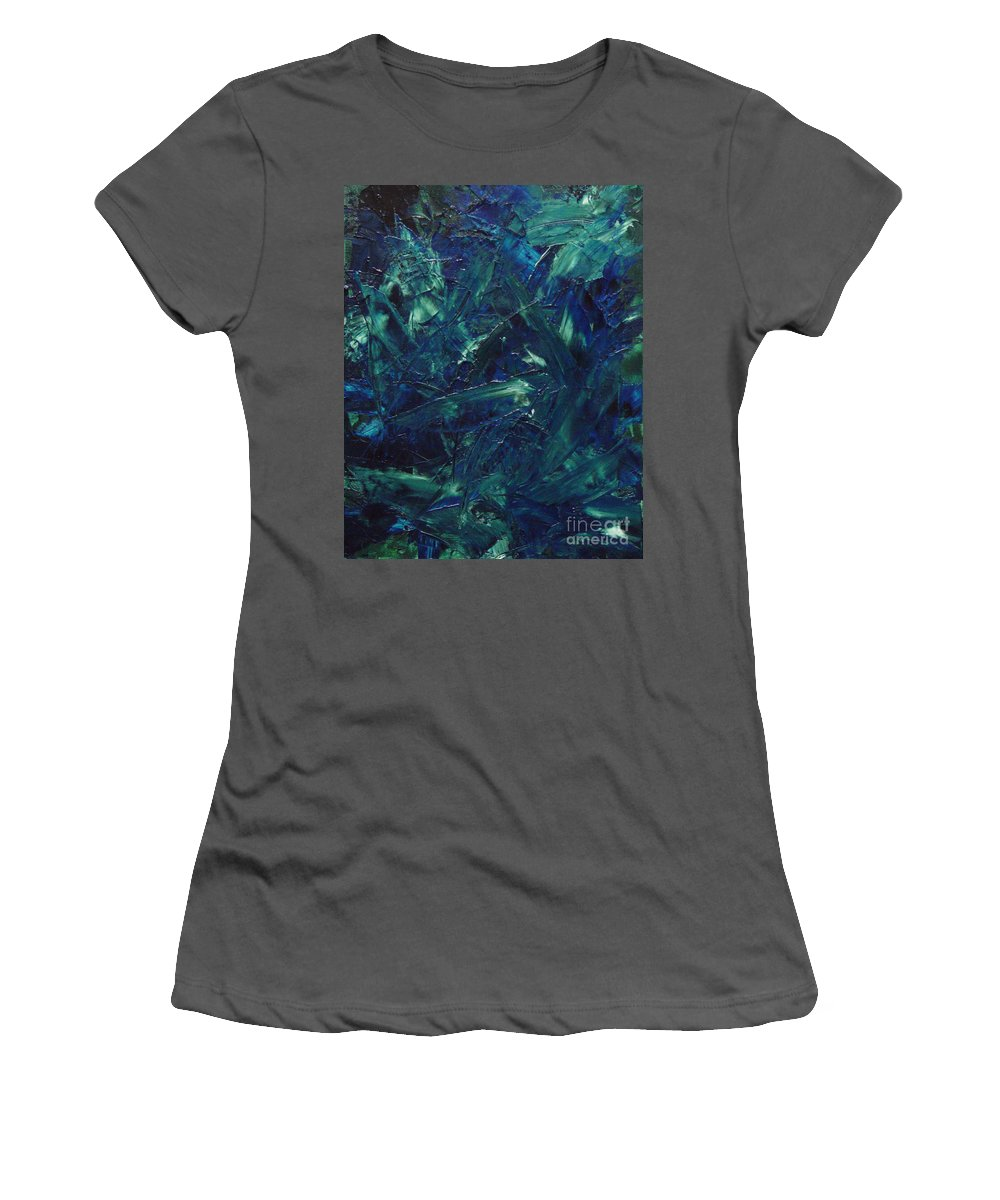 Abstract Women's T-Shirt (Athletic Fit) featuring the painting Transtions Xi by Dean Triolo