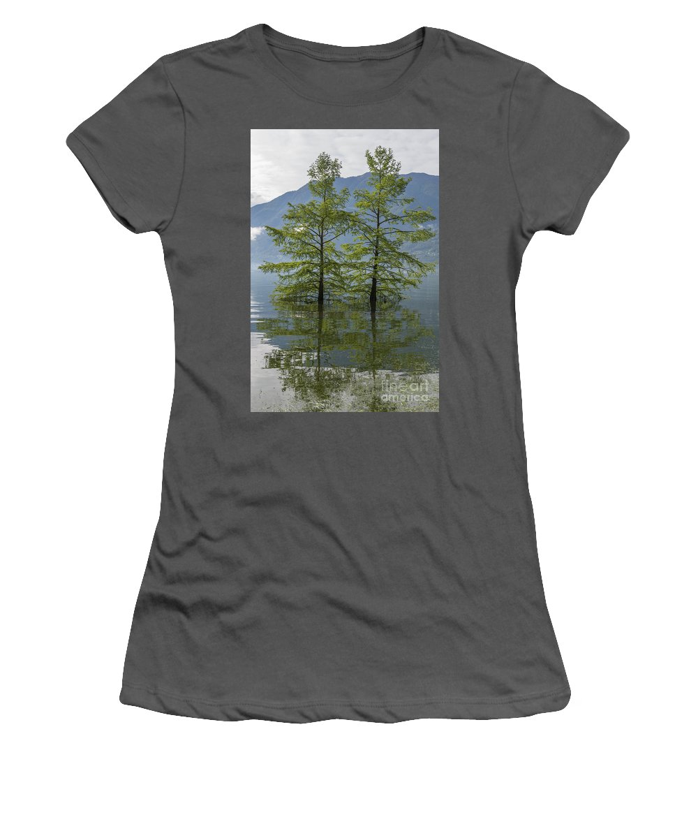Trees Women's T-Shirt (Athletic Fit) featuring the photograph Trees On A Flooding Alpine Lake by Mats Silvan