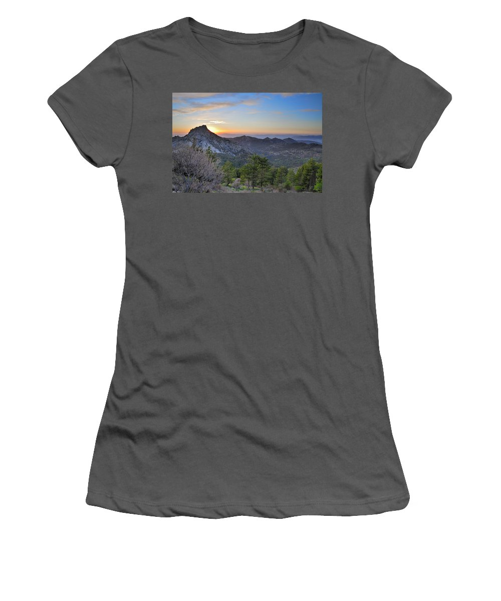 Sunset Women's T-Shirt (Athletic Fit) featuring the photograph Trevenque Mountain At Sunset 2079 M by Guido Montanes Castillo