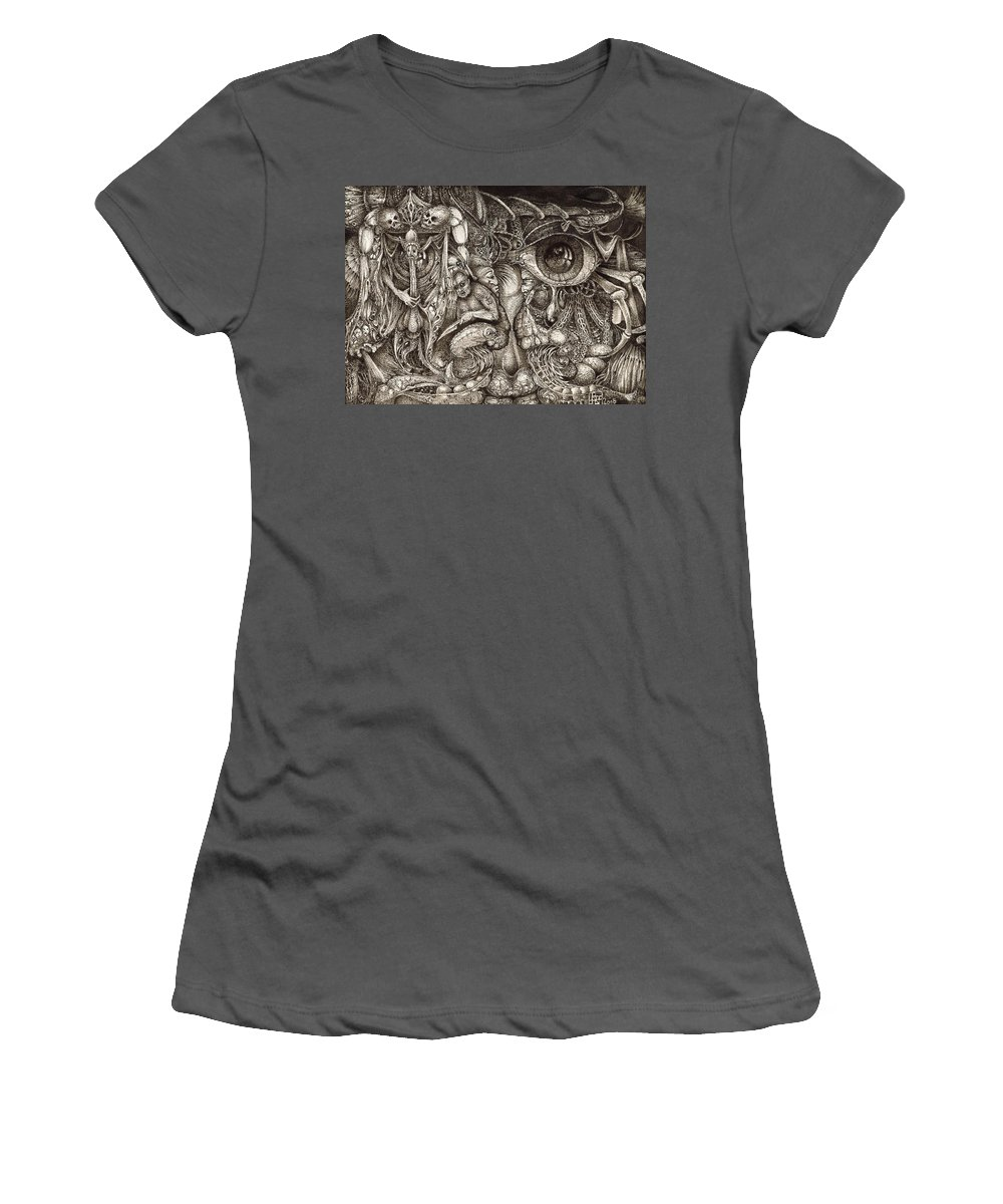 Surreal Women's T-Shirt (Athletic Fit) featuring the drawing Tripping Through Bogomils Mind by Otto Rapp