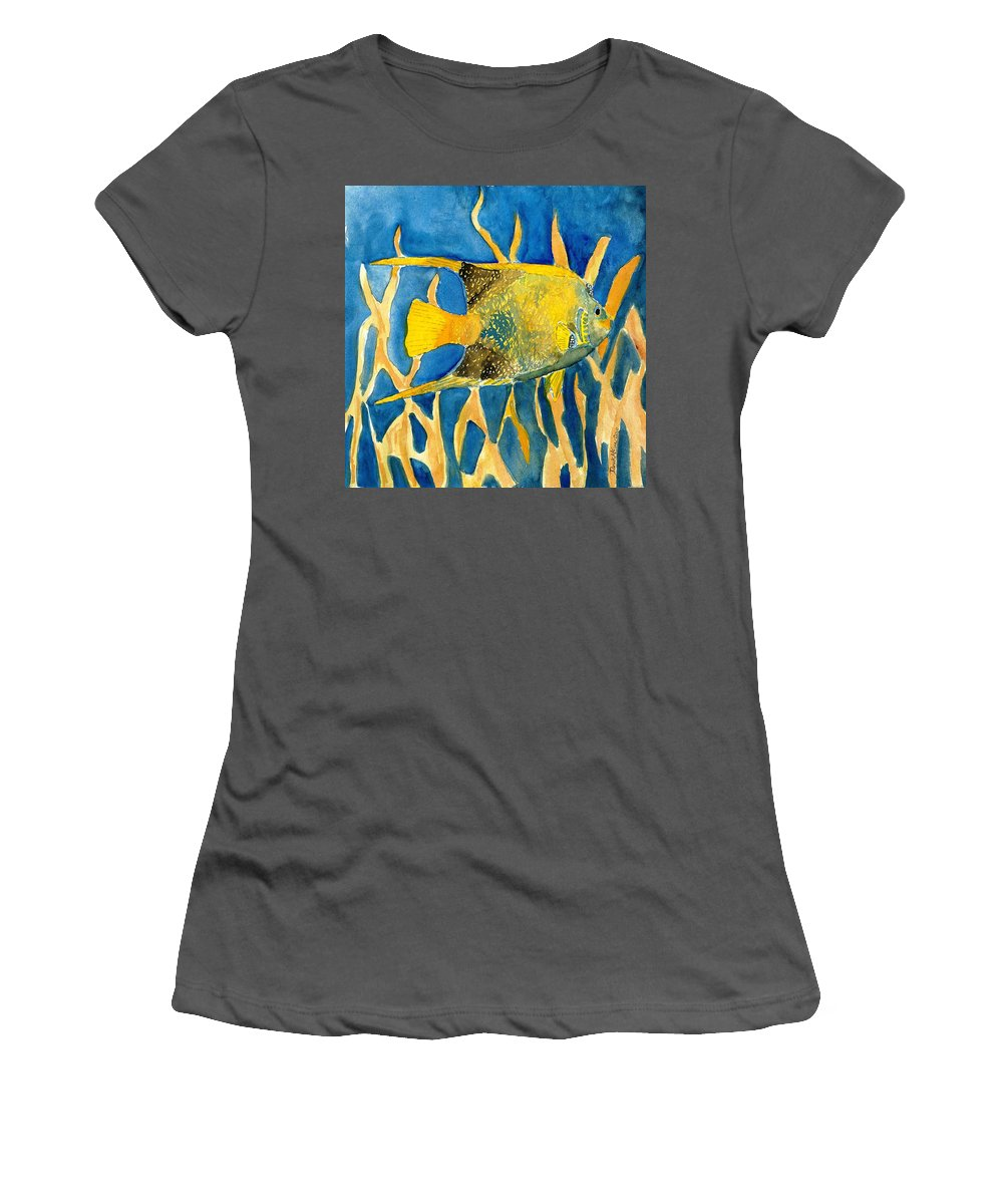 Tropical Women's T-Shirt (Athletic Fit) featuring the painting Tropical Fish Art Print by Derek Mccrea
