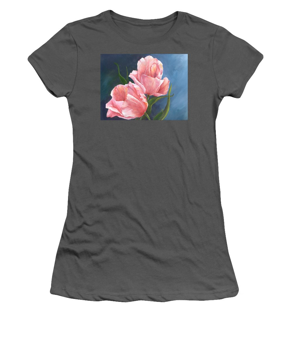 Tulip Women's T-Shirt (Athletic Fit) featuring the painting Tulip Waltz by Sherry Shipley