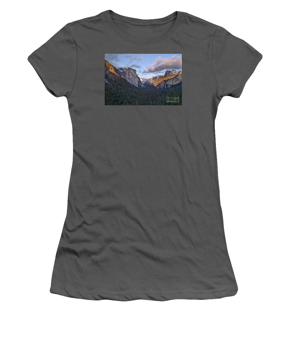 Landscape Women's T-Shirt (Athletic Fit) featuring the photograph Tunnel View by Richard Verkuyl