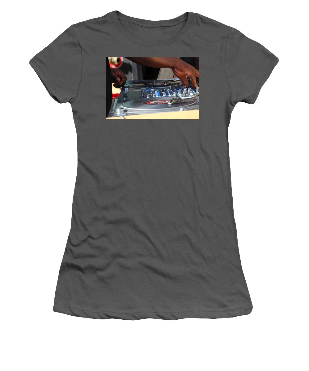 Fingers Women's T-Shirt (Athletic Fit) featuring the photograph Turntable by Carolyn Stagger Cokley