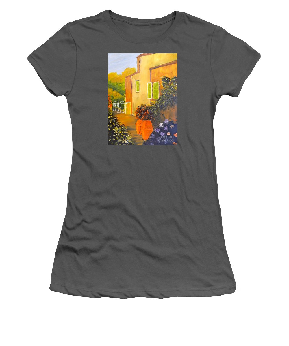 Tuscany Women's T-Shirt (Athletic Fit) featuring the painting Tuscany Courtyard by Pamela Meredith