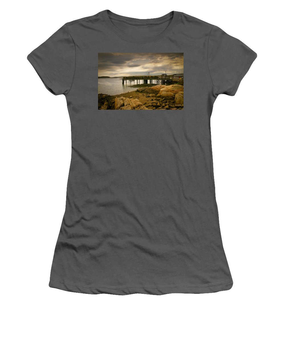 Kennebunk Women's T-Shirt (Athletic Fit) featuring the photograph Twilight Cape Porpoise Maine by Bob Orsillo