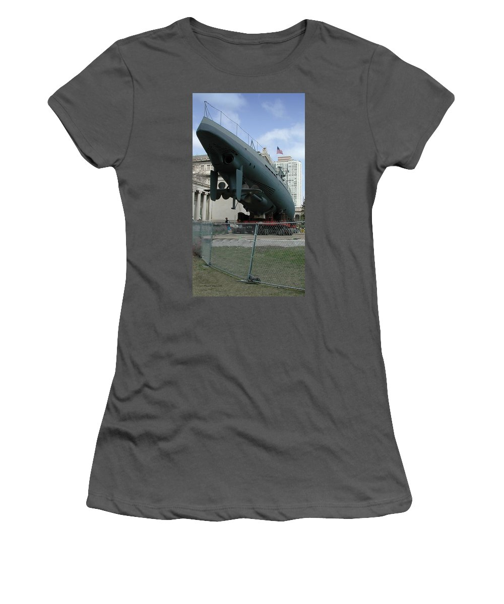 Navy Women's T-Shirt (Athletic Fit) featuring the photograph U 505 German Submarine by Thomas Woolworth