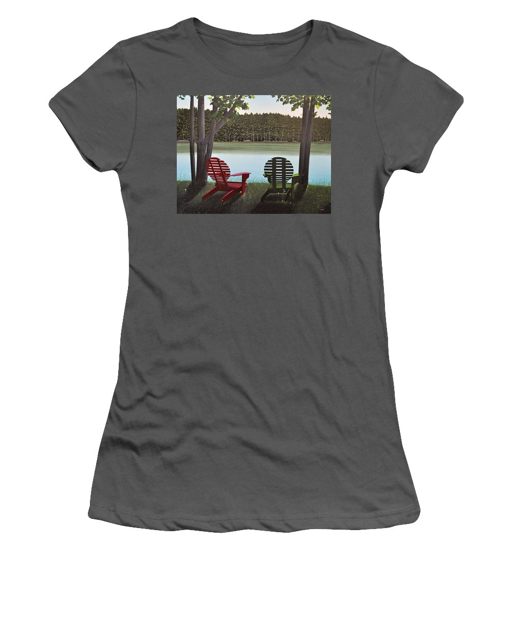 Landscapes Women's T-Shirt (Athletic Fit) featuring the painting Under Muskoka Trees by Kenneth M Kirsch