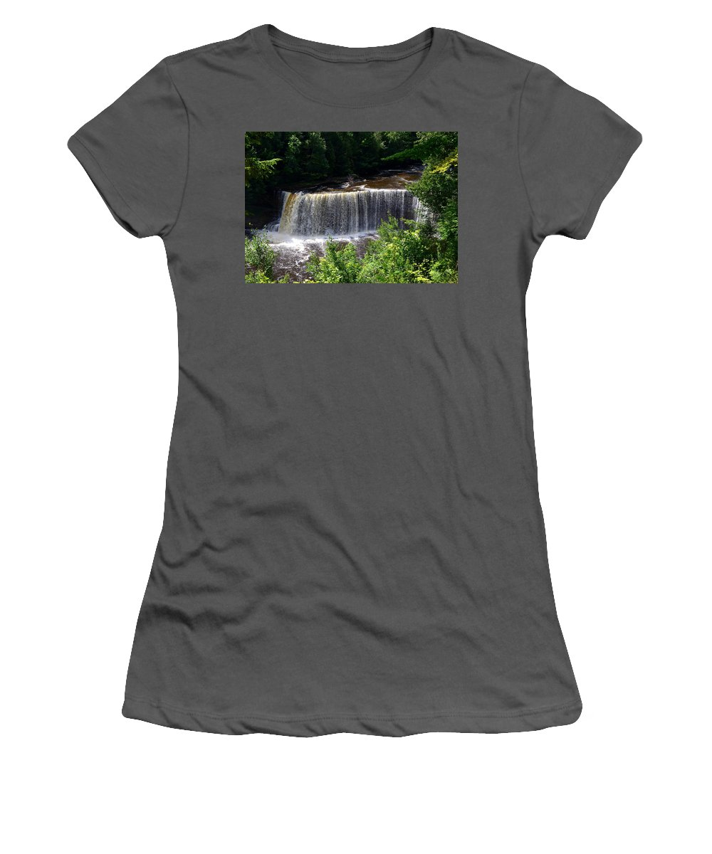Rivers Women's T-Shirt (Athletic Fit) featuring the photograph Upper Tahquamenon Falls by Michelle Calkins