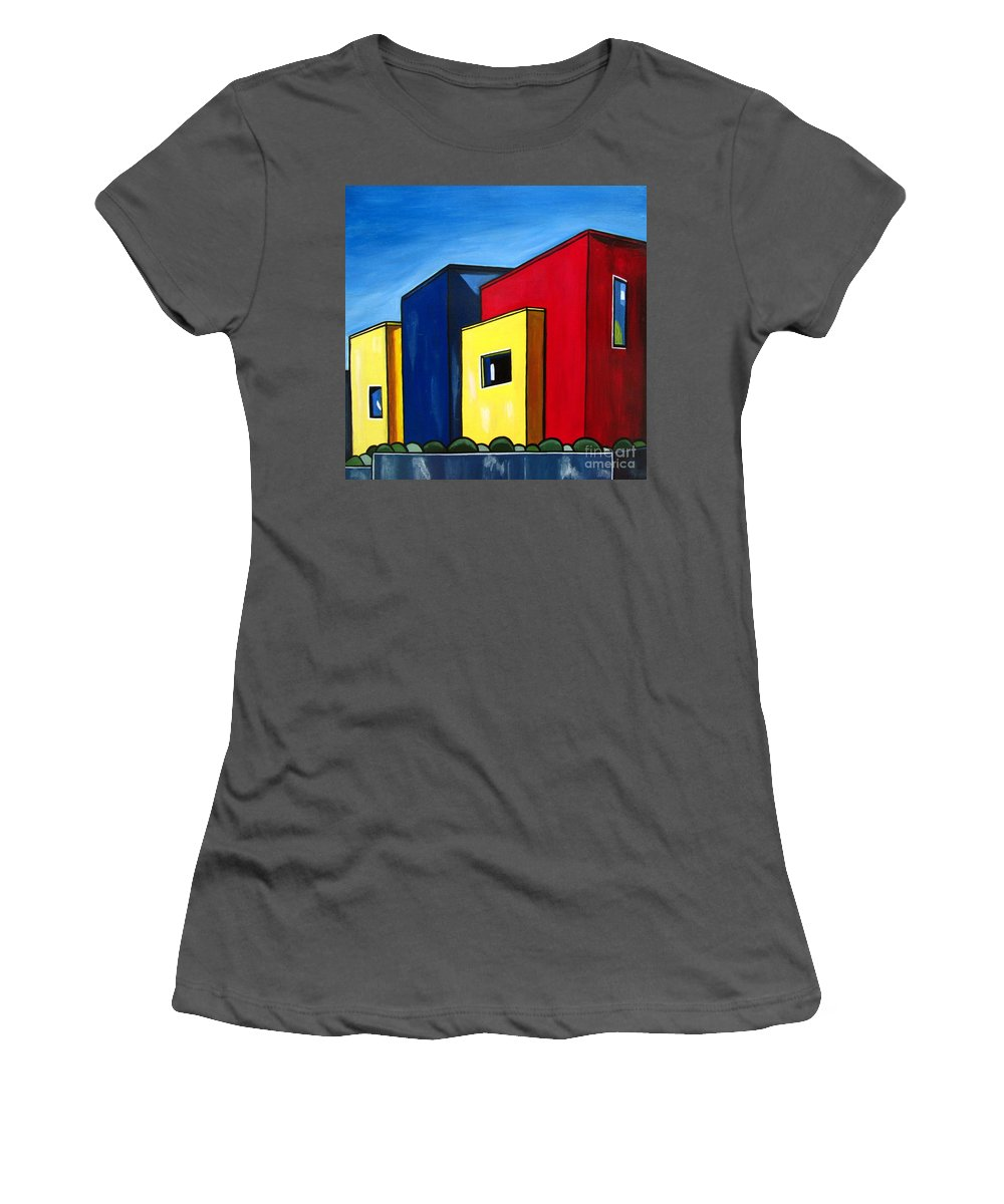 Landscape Women's T-Shirt (Athletic Fit) featuring the painting Urban 11 by Sandra Marie Adams