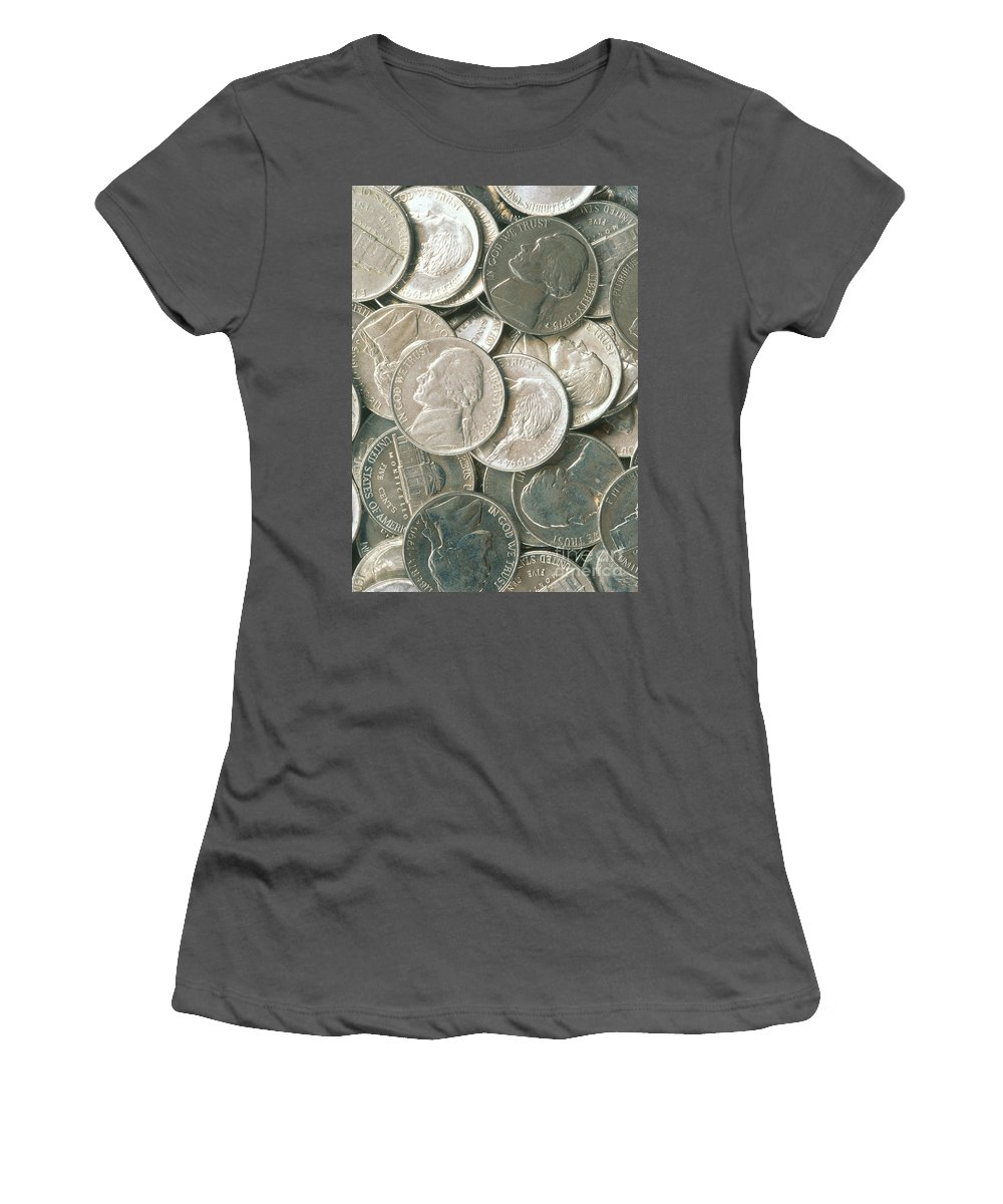 United States Currency Women's T-Shirt (Athletic Fit) featuring the photograph U.s. Nickels by David N. Davis