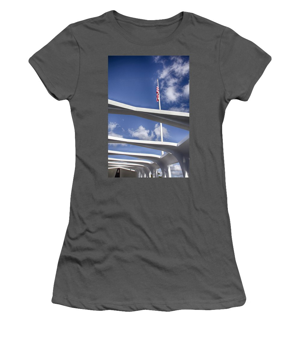 Uss Arizona Memorial Women's T-Shirt (Athletic Fit) featuring the photograph Uss Arizona Memorial by Douglas Barnard