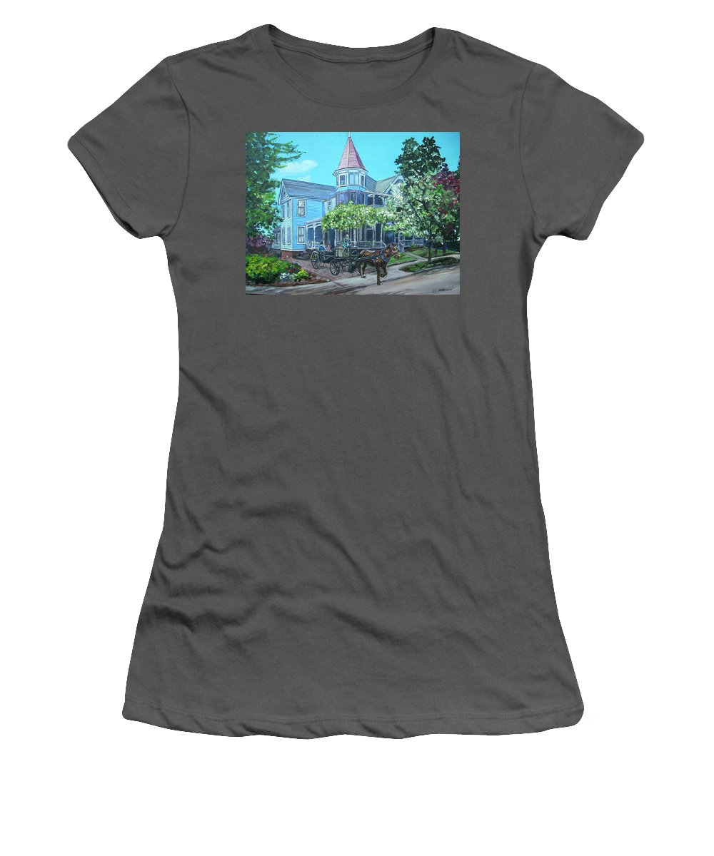 Victorian Women's T-Shirt (Athletic Fit) featuring the painting Victorian Greenville by Bryan Bustard