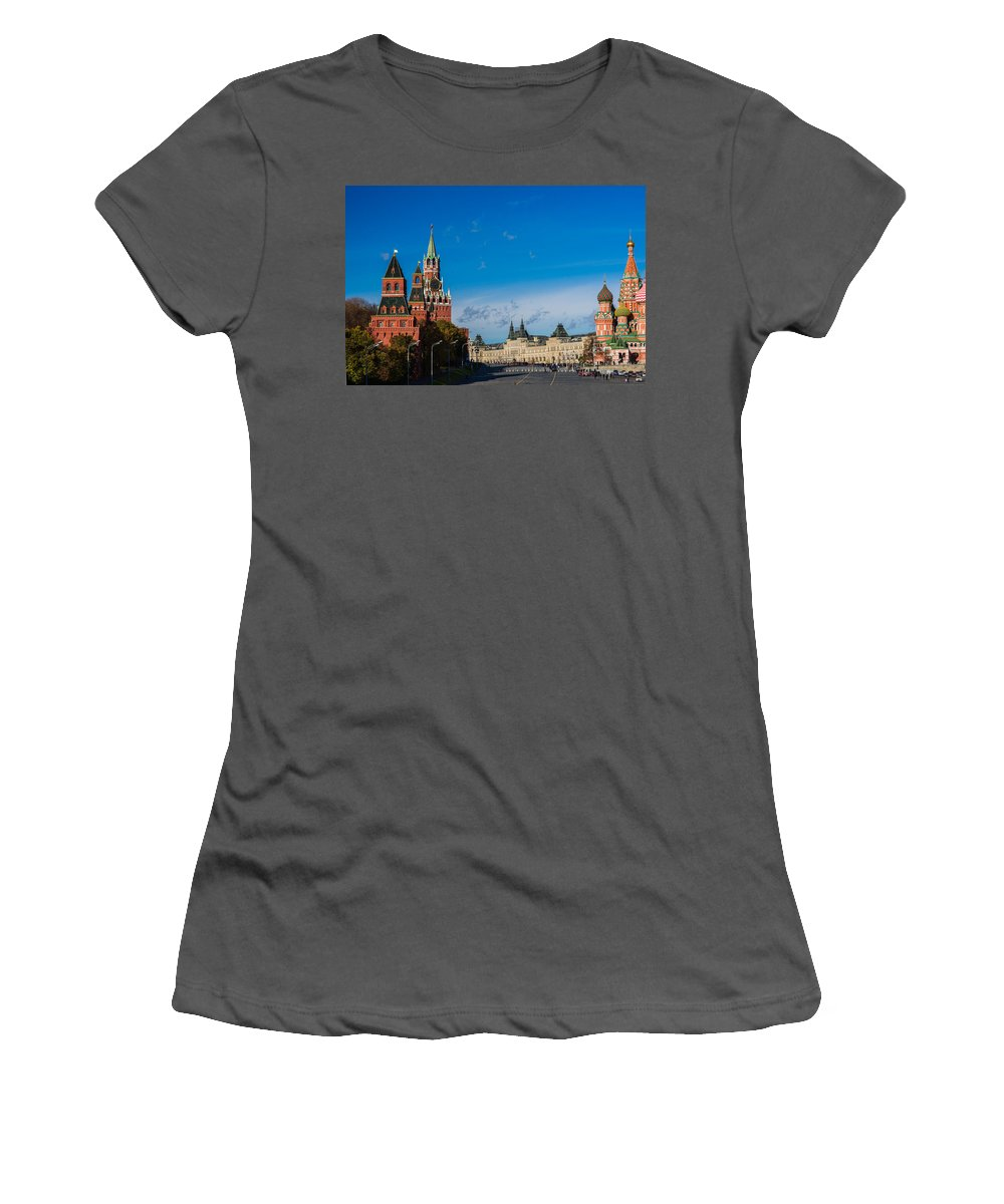 World Women's T-Shirt (Athletic Fit) featuring the photograph View Of Moscow Kremlin Towers And Red Square In Autumn by Alexander Senin