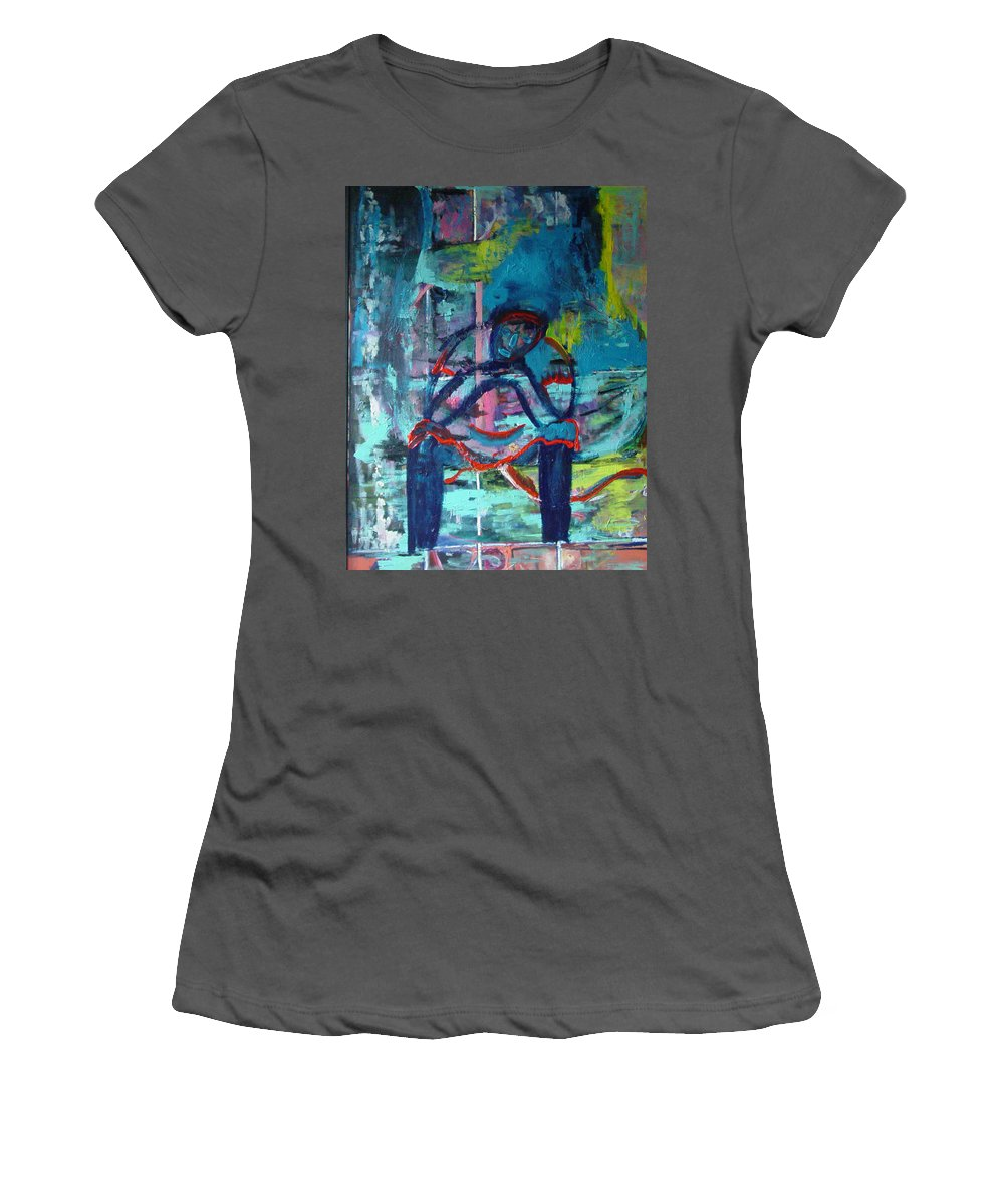 Woman On Bench Women's T-Shirt (Athletic Fit) featuring the painting Waiting by Peggy Blood