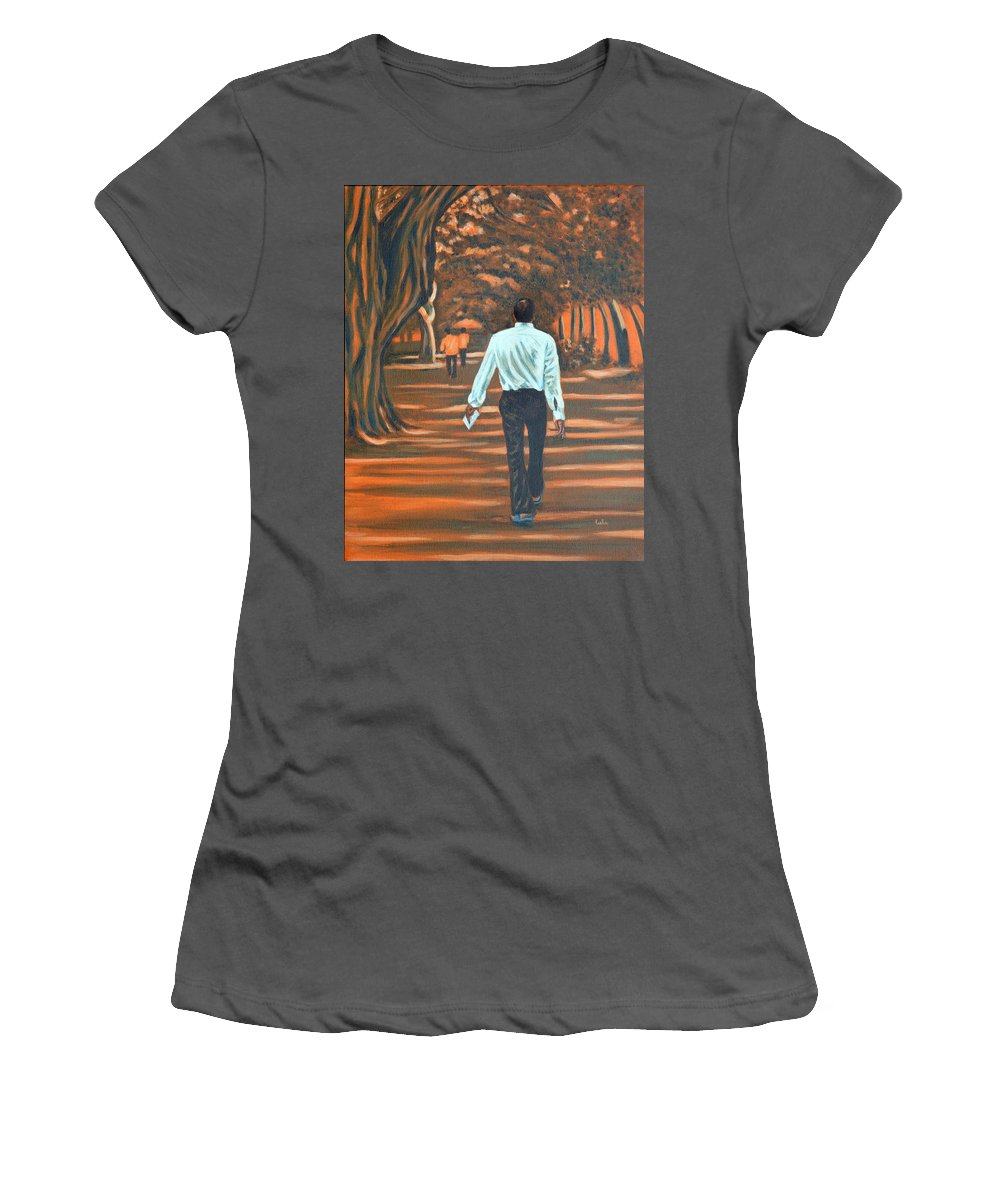 Usha Women's T-Shirt (Athletic Fit) featuring the painting Walk In The Woods by Usha Shantharam