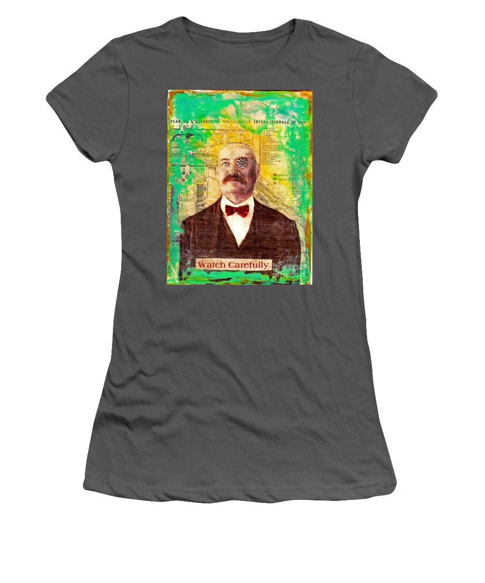 Encaustic Women's T-Shirt (Athletic Fit) featuring the painting Watch Carefully by Desiree Paquette