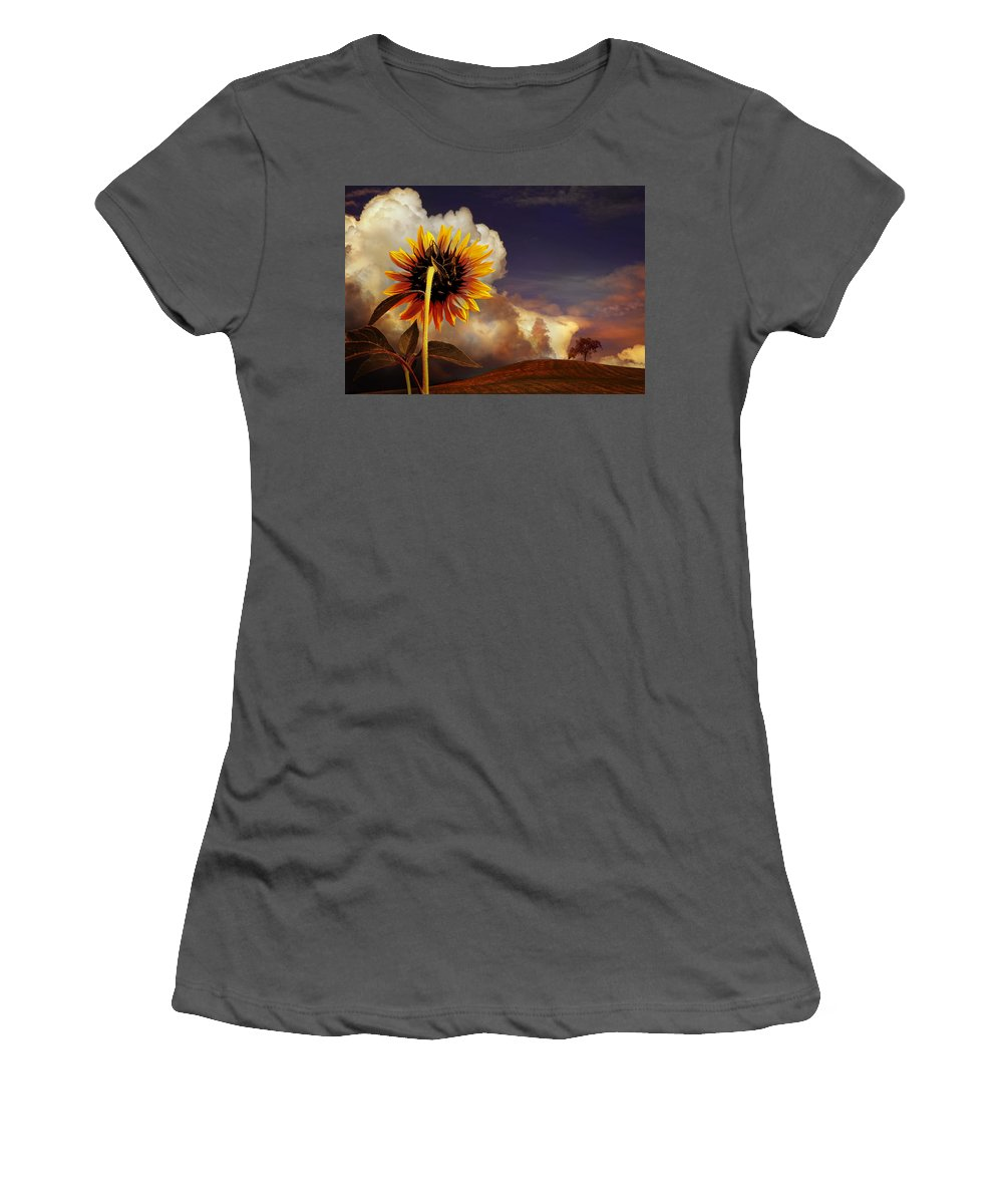 Sunset Women's T-Shirt (Athletic Fit) featuring the photograph Watching The Sun Set by Mal Bray