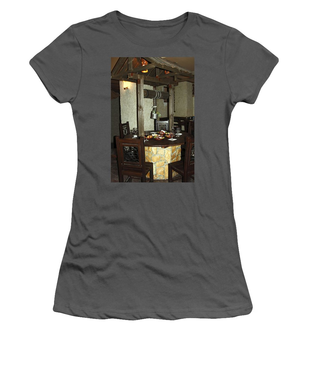 Restaurant Interior Women's T-Shirt (Athletic Fit) featuring the photograph Water Well Table by Sally Weigand