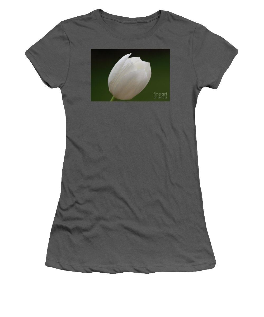 White Women's T-Shirt (Athletic Fit) featuring the photograph White Tulip 4 by Carol Lynch
