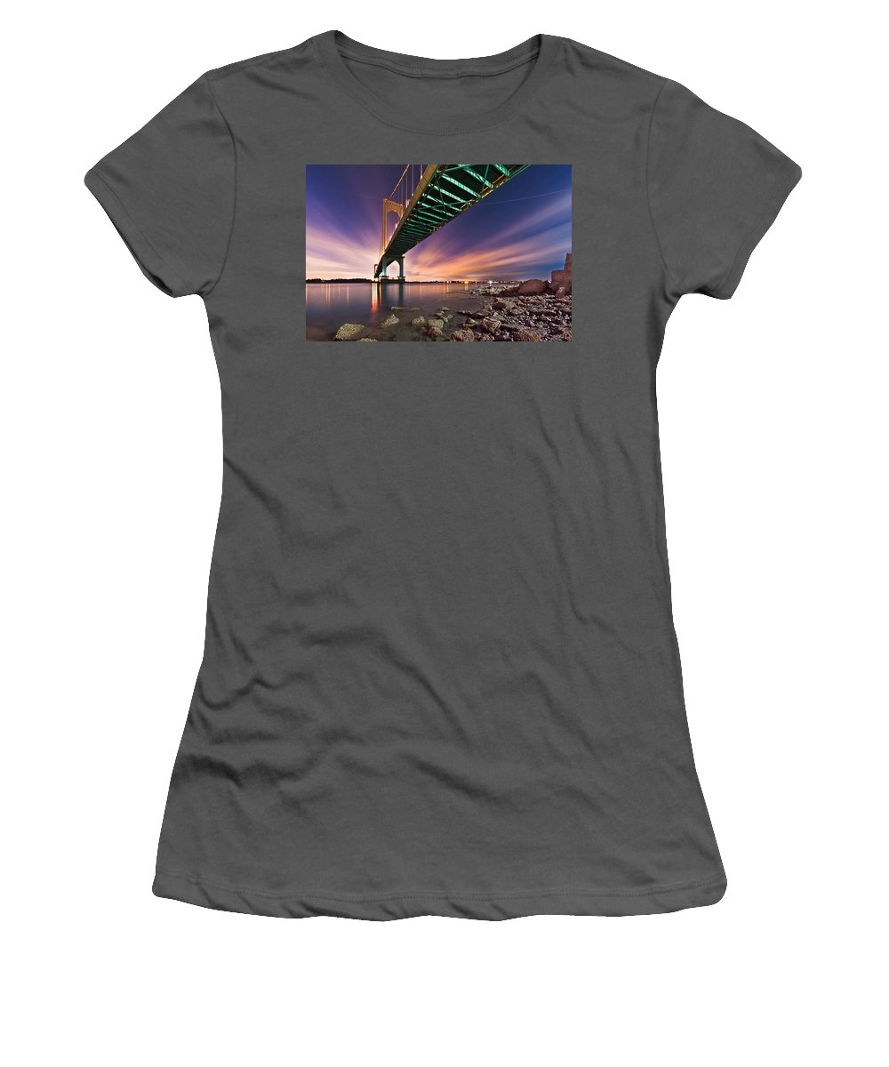 Horizontal Women's T-Shirt (Athletic Fit) featuring the photograph Whitestone Bridge by Mihai Andritoiu