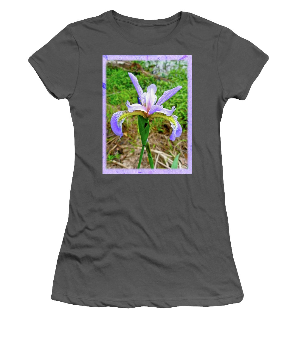 Iris Women's T-Shirt (Athletic Fit) featuring the photograph Wild Flag - Iris Versicolor by Mother Nature