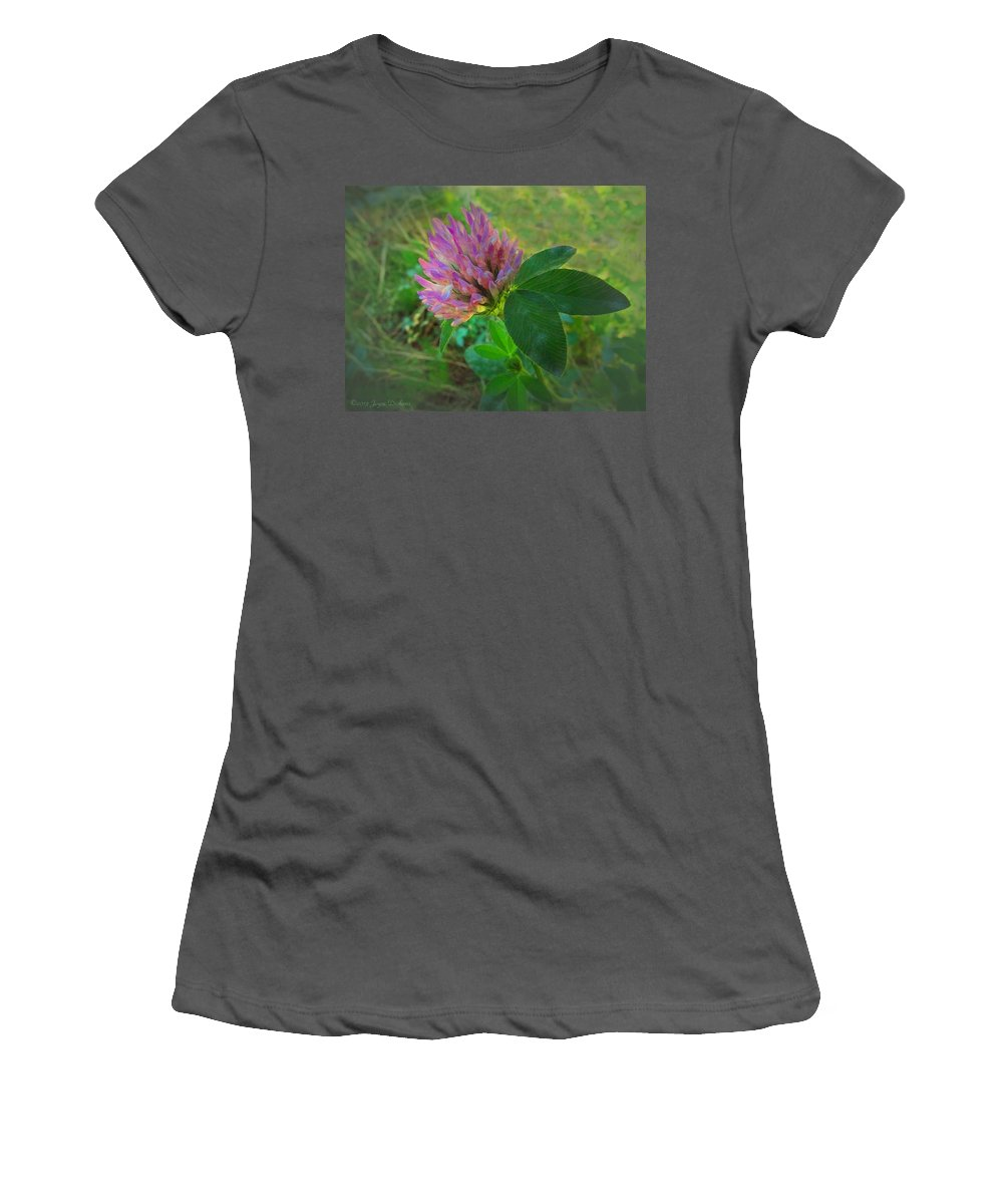 Clover Women's T-Shirt (Athletic Fit) featuring the photograph Wild Red Clover Blossom by Joyce Dickens