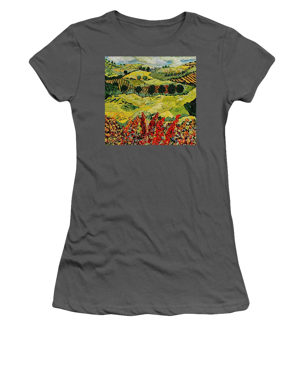 Landscape Women's T-Shirt (Athletic Fit) featuring the painting Wildflower Jungle by Allan P Friedlander