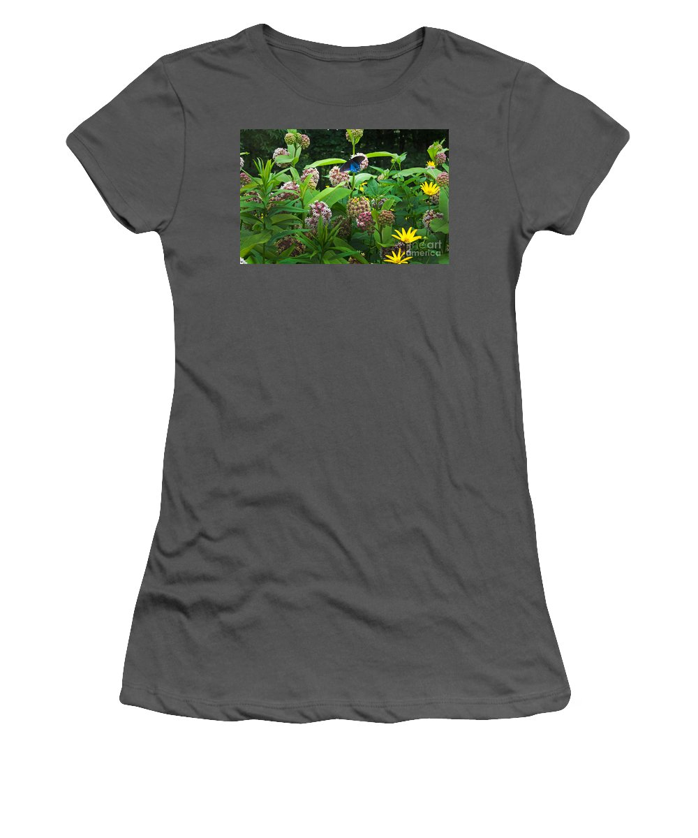 Common Milkweed Women's T-Shirt (Athletic Fit) featuring the photograph Wildflower Meadow by Kenneth Murray