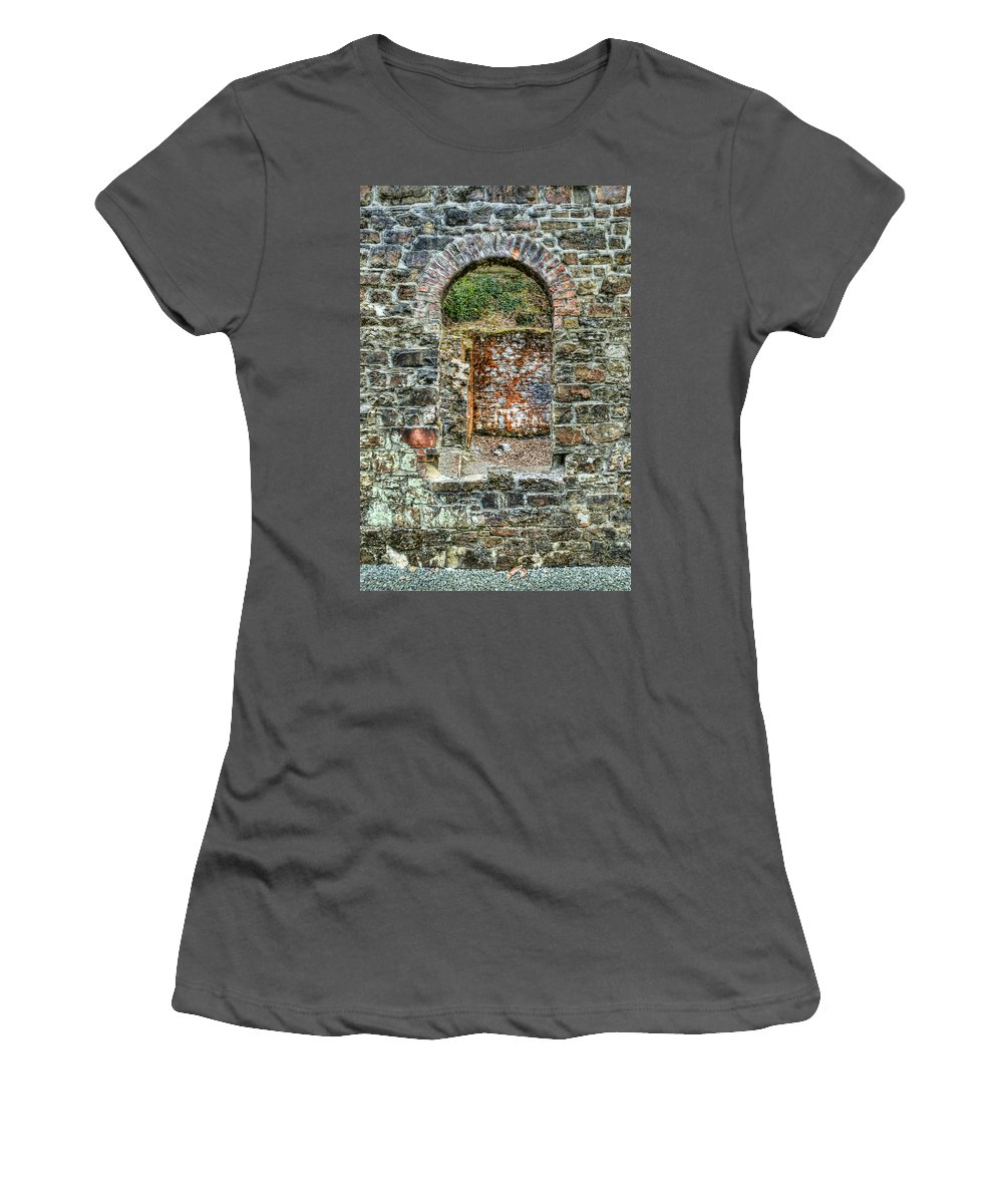 Stepaside Ironworks Women's T-Shirt (Athletic Fit) featuring the photograph Window To A Bygone Heritage by Steve Purnell