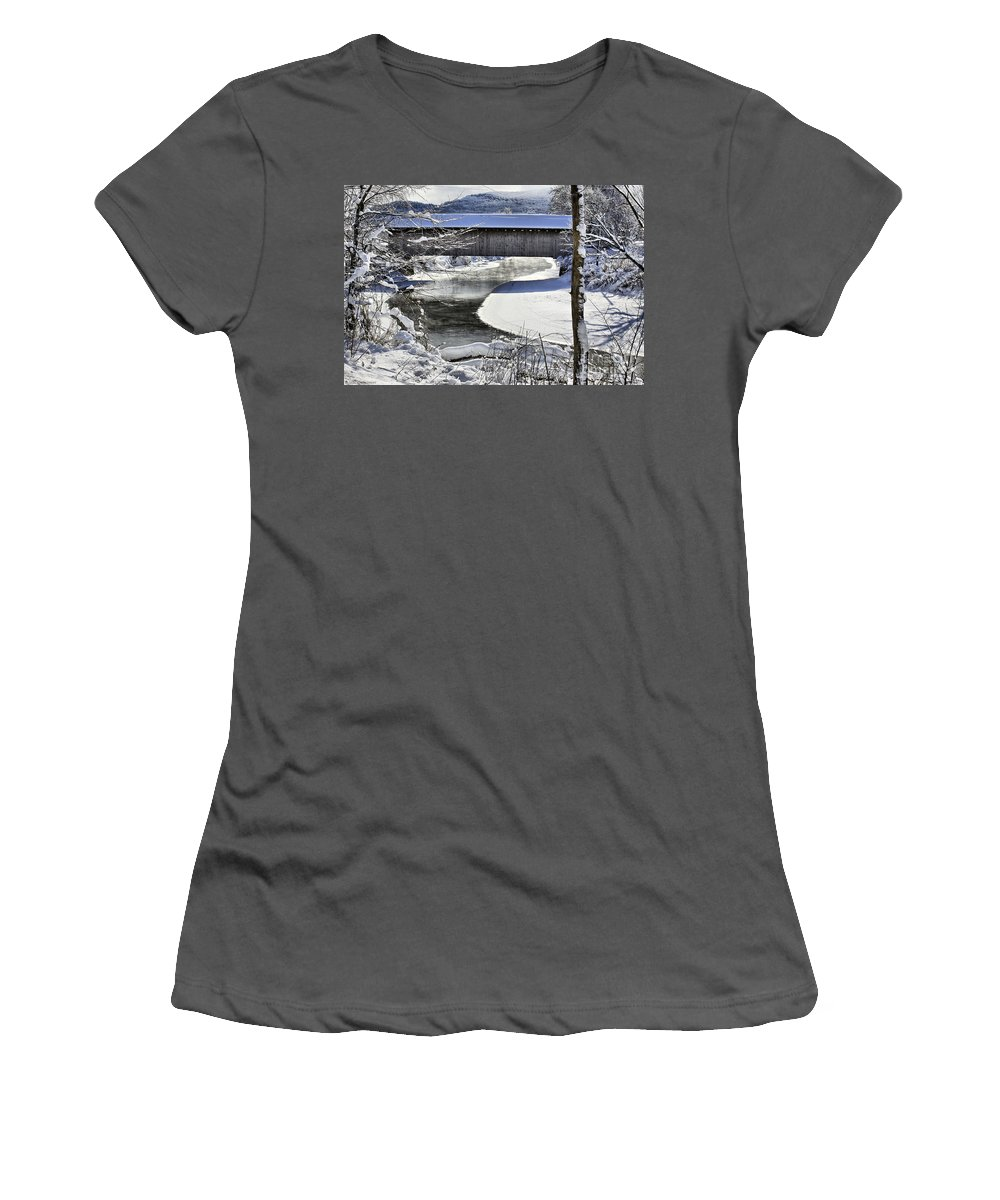 Brook Women's T-Shirt (Athletic Fit) featuring the photograph Winter Scene In Montgomery by Deborah Benoit