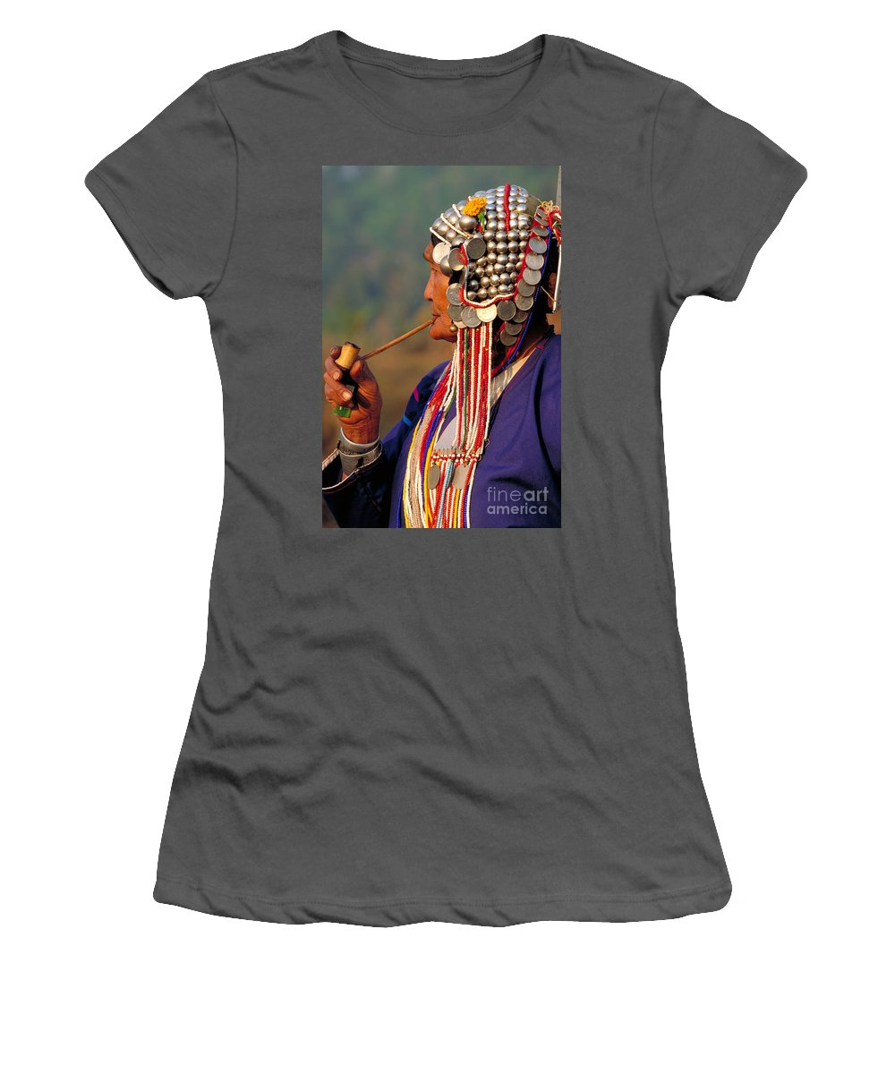 Vertical Women's T-Shirt (Athletic Fit) featuring the photograph Akha Hill Tribe Woman Thailand by Art Wolfe
